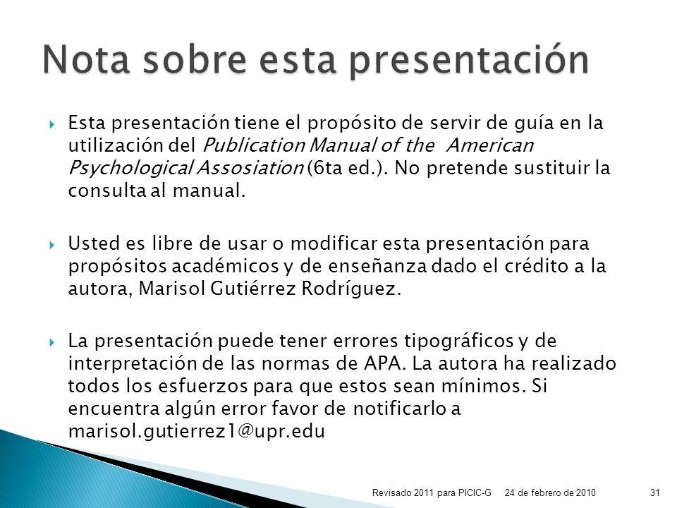 Nota sobre esta presentación