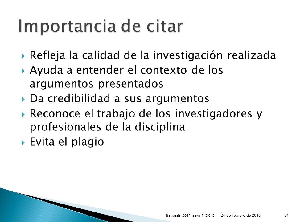 Importancia de citar Refleja la calidad de la investigación realizada