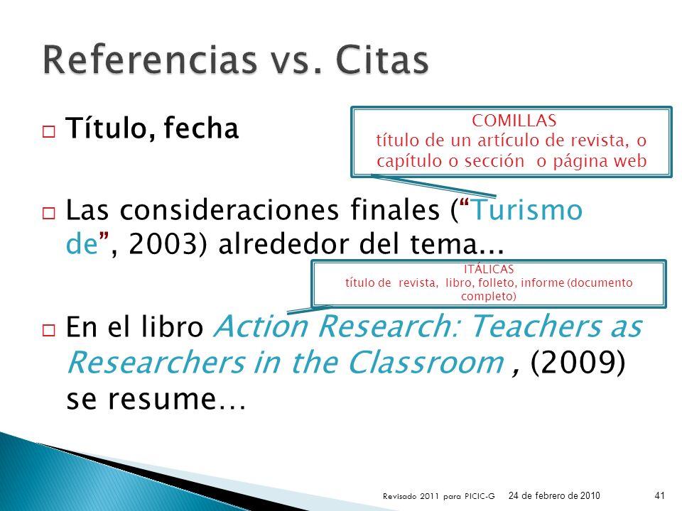 Referencias vs. Citas Título, fecha