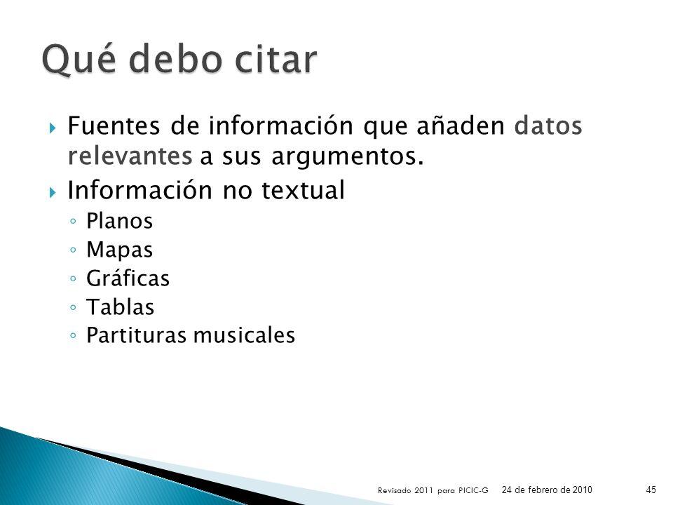 Qué debo citar Fuentes de información que añaden datos relevantes a sus argumentos. Información no textual.