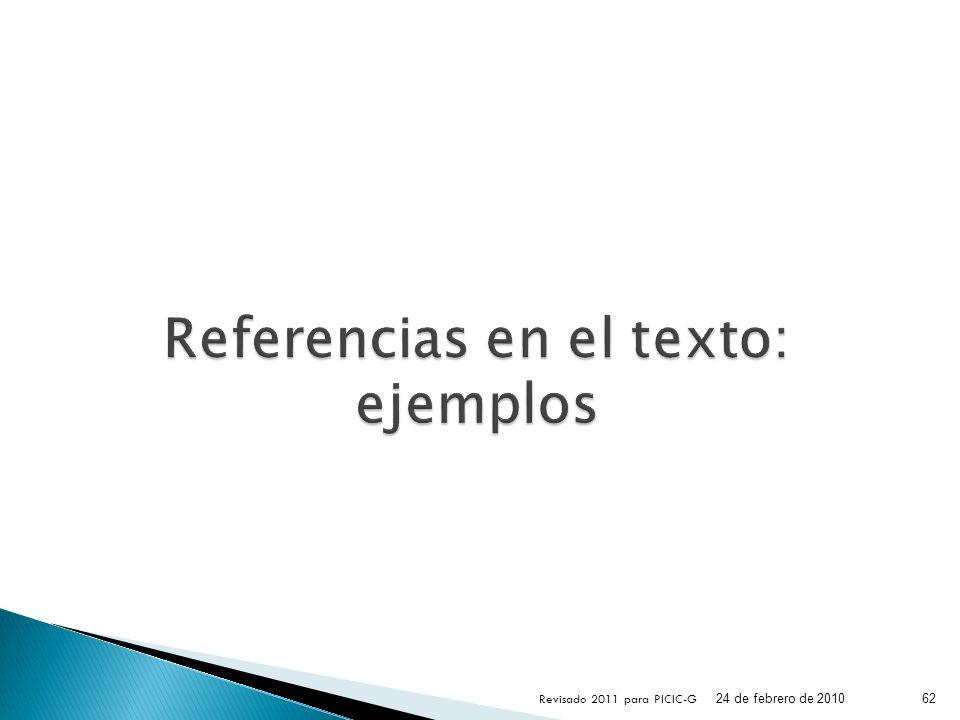 Referencias en el texto: ejemplos