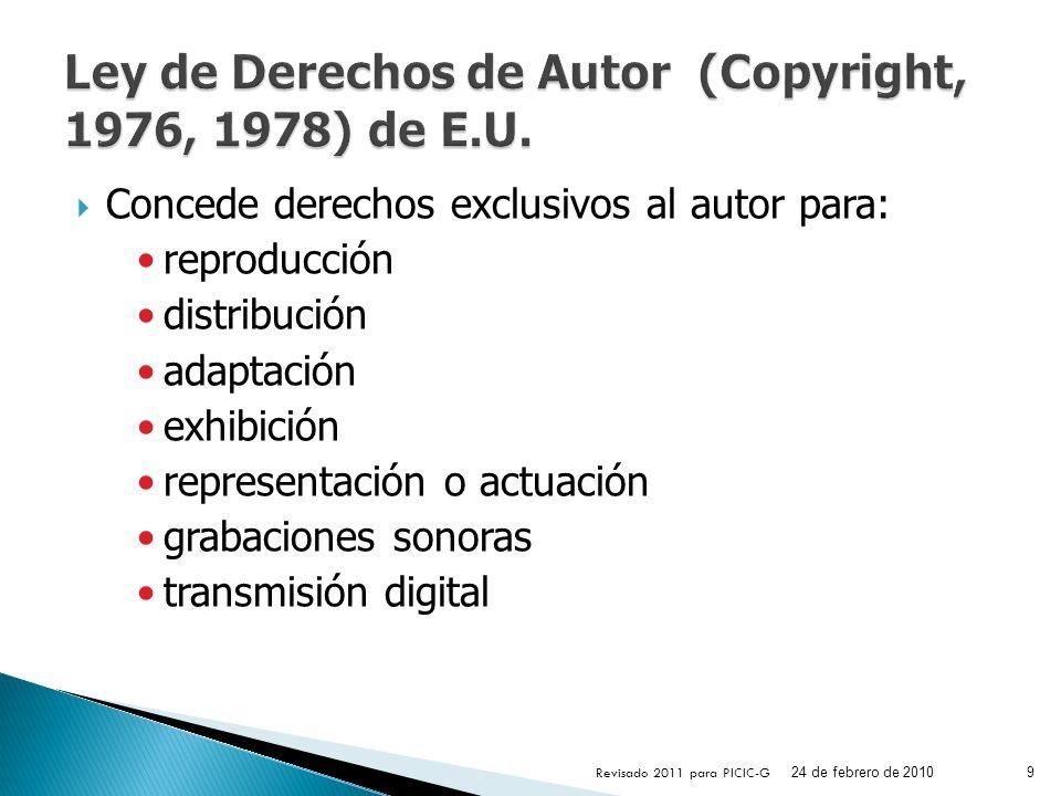 Ley de Derechos de Autor (Copyright, 1976, 1978) de E.U.