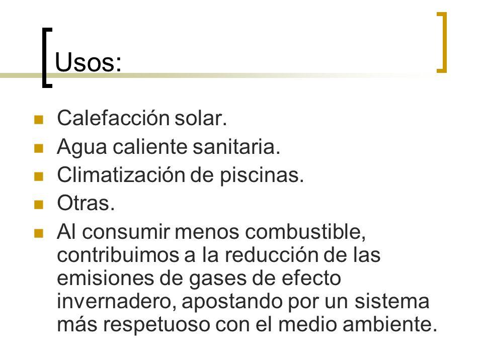 Usos: Calefacción solar. Agua caliente sanitaria.