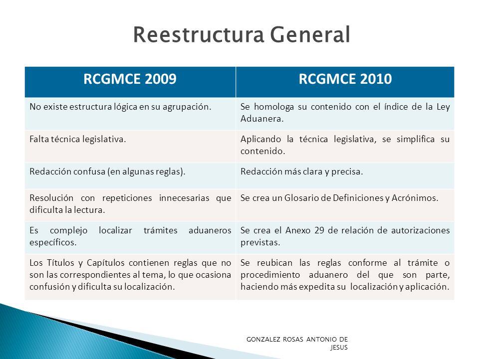 Reestructura General RCGMCE 2009 RCGMCE 2010
