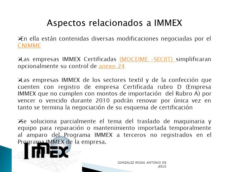 Aspectos relacionados a IMMEX