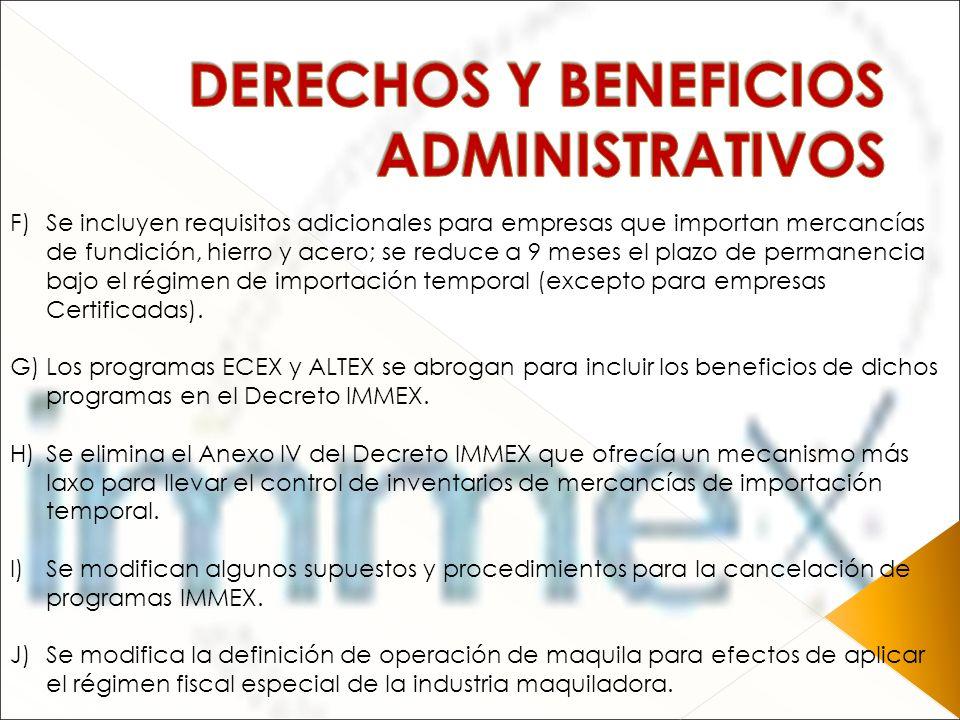 DERECHOS Y BENEFICIOS ADMINISTRATIVOS