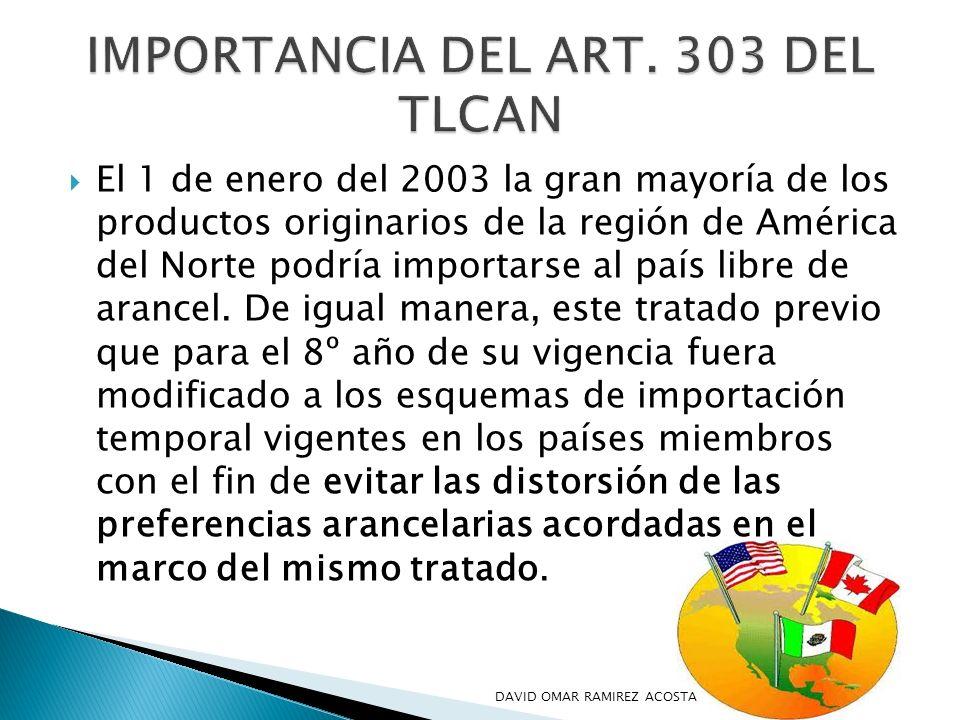 IMPORTANCIA DEL ART. 303 DEL TLCAN