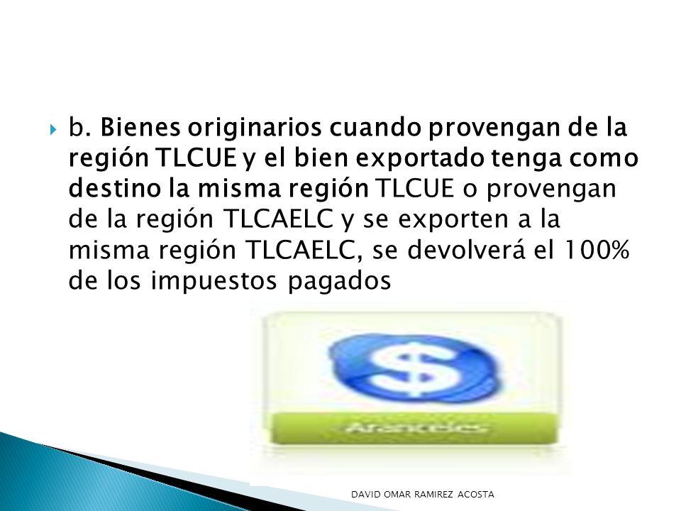 b. Bienes originarios cuando provengan de la región TLCUE y el bien exportado tenga como destino la misma región TLCUE o provengan de la región TLCAELC y se exporten a la misma región TLCAELC, se devolverá el 100% de los impuestos pagados