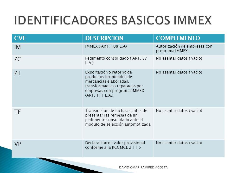 IDENTIFICADORES BASICOS IMMEX