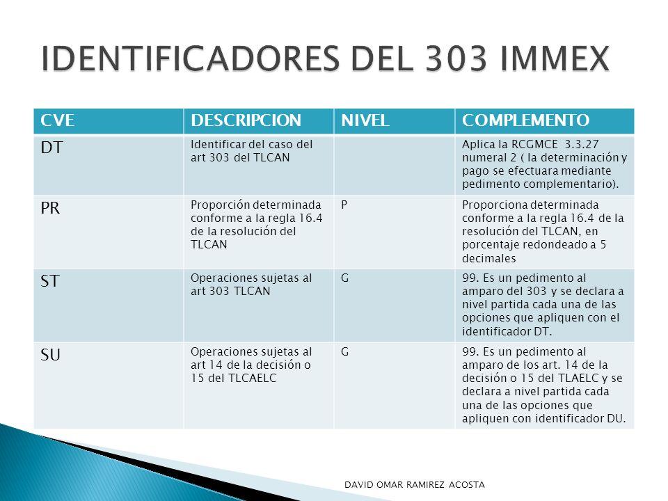 IDENTIFICADORES DEL 303 IMMEX
