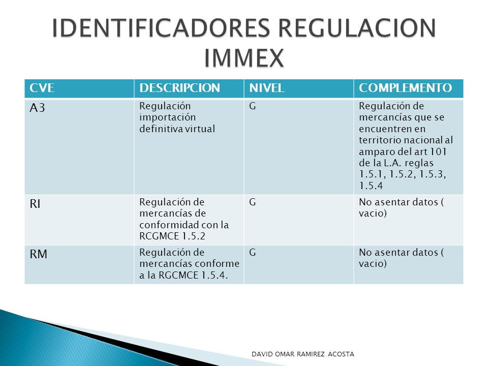 IDENTIFICADORES REGULACION IMMEX
