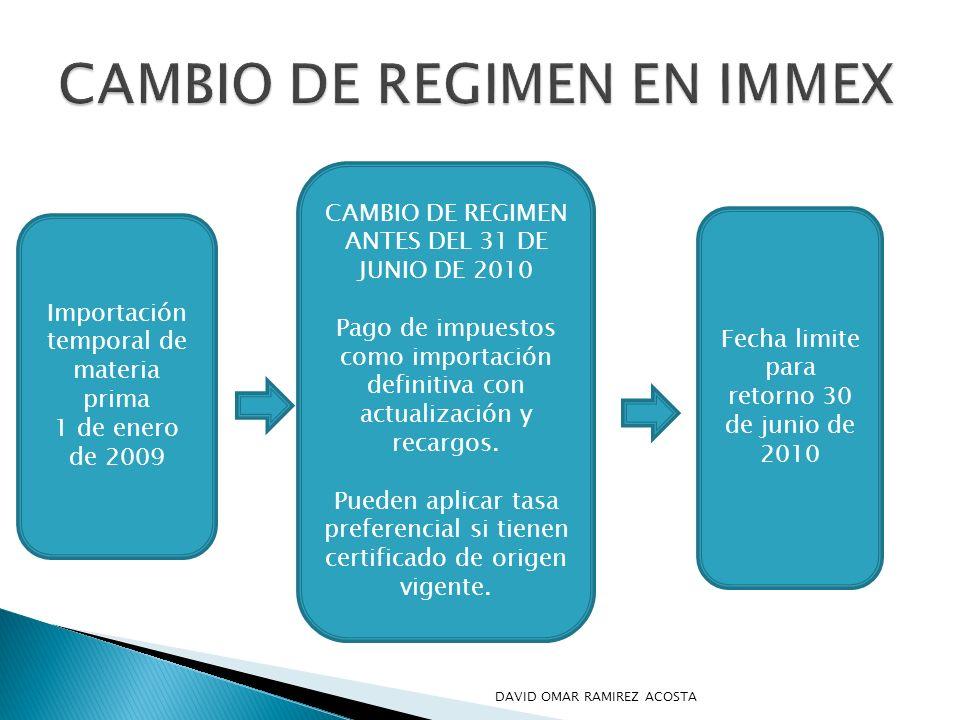 CAMBIO DE REGIMEN EN IMMEX