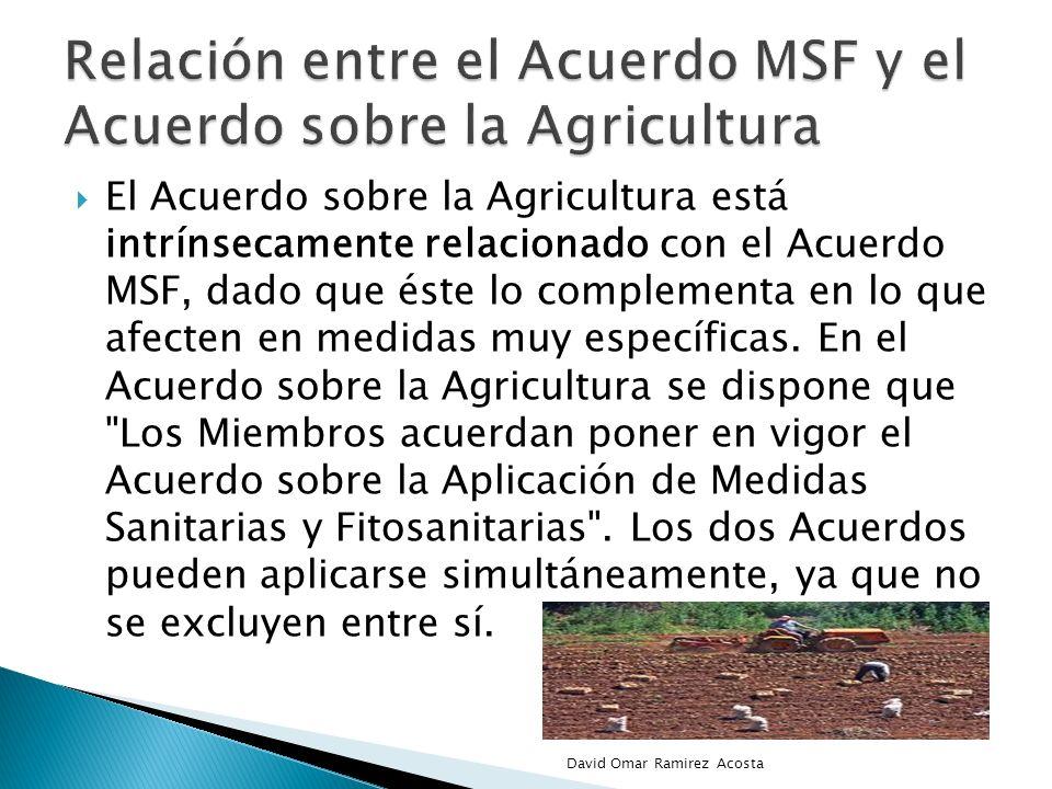 Relación entre el Acuerdo MSF y el Acuerdo sobre la Agricultura
