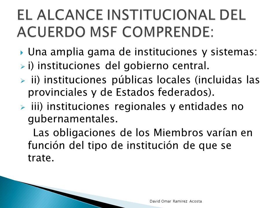 el alcance Institucional del acuerdo msf comprende: