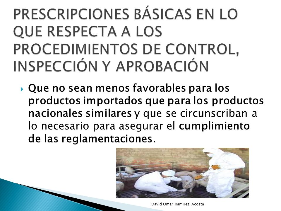 prescripciones básicas en lo que respecta a los procedimientos de control, inspección y aprobación
