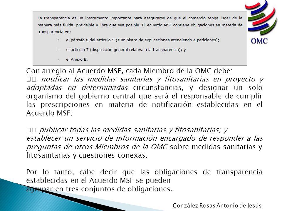 Con arreglo al Acuerdo MSF, cada Miembro de la OMC debe: