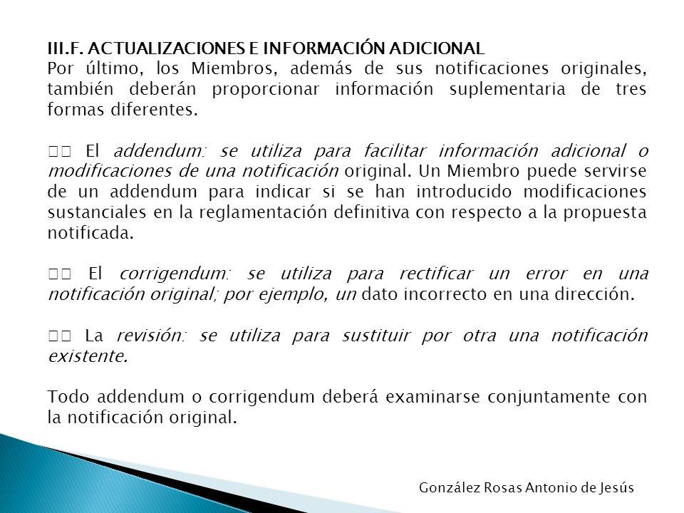 III.F. ACTUALIZACIONES E INFORMACIÓN ADICIONAL
