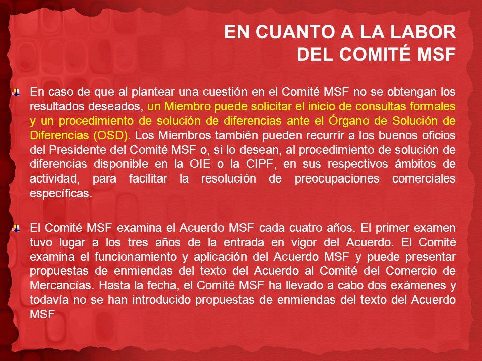 EN CUANTO A LA LABOR DEL COMITÉ MSF