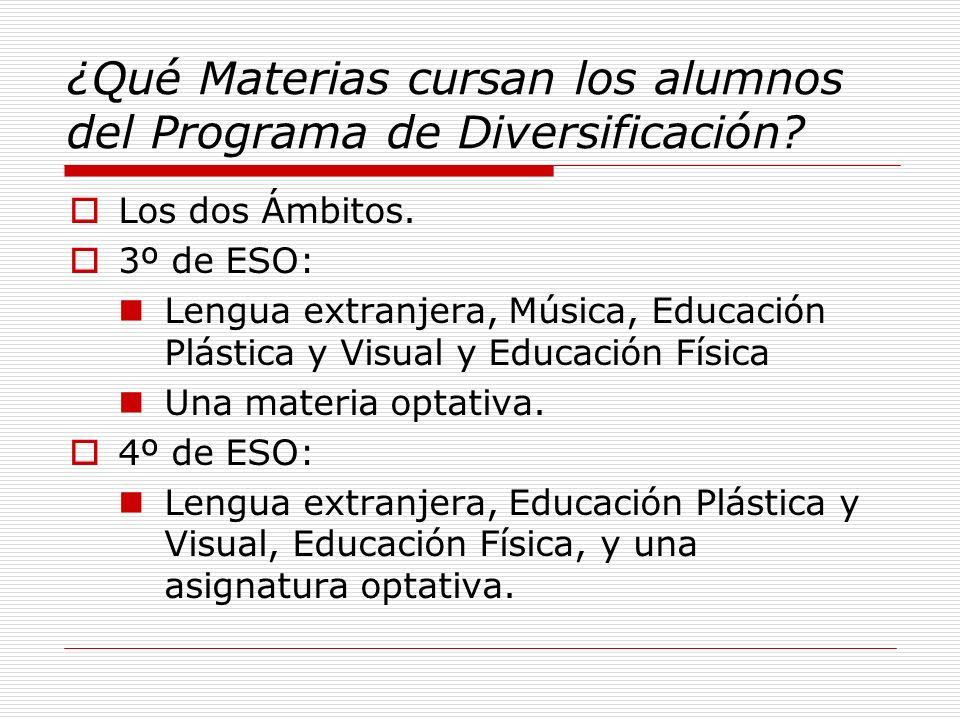 ¿Qué Materias cursan los alumnos del Programa de Diversificación