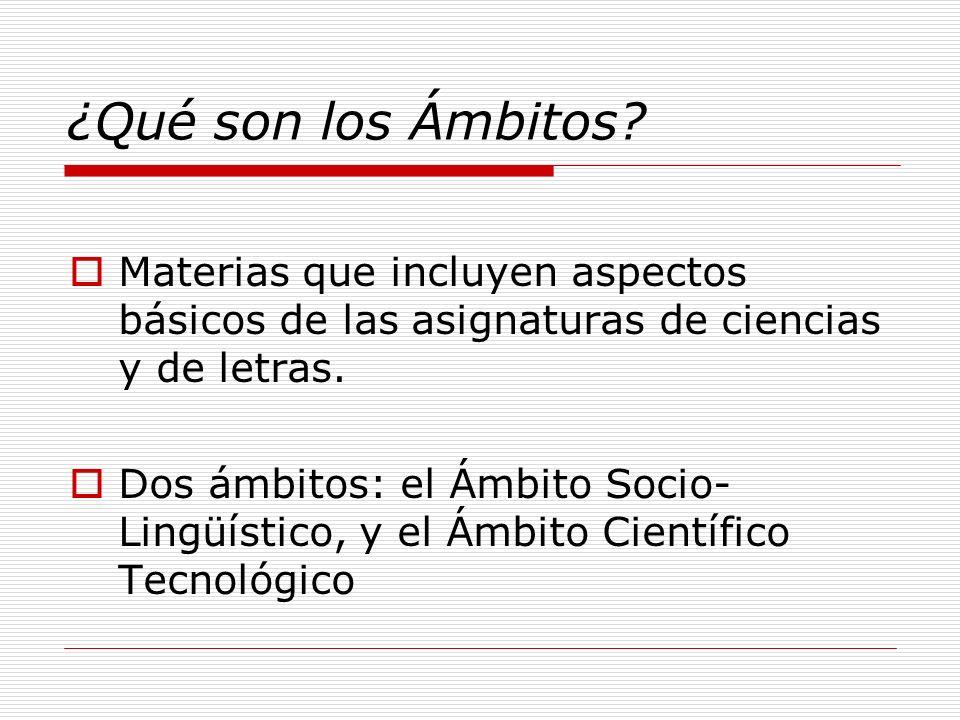 ¿Qué son los Ámbitos Materias que incluyen aspectos básicos de las asignaturas de ciencias y de letras.