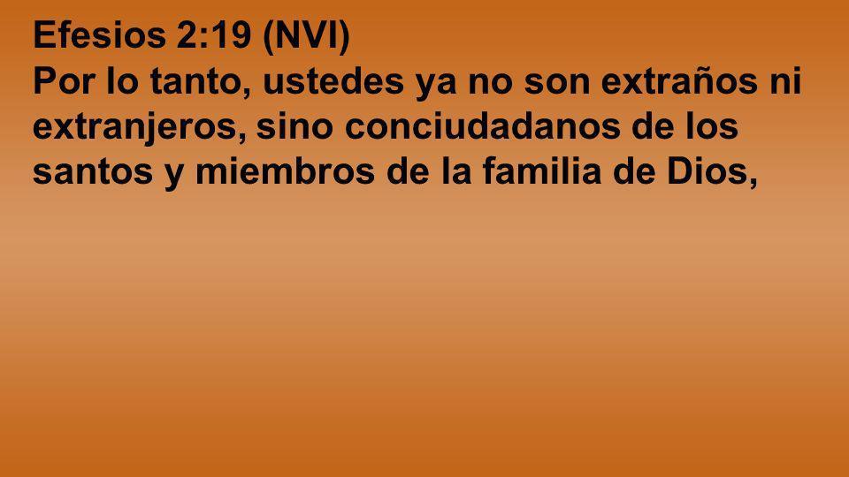 Efesios 2:19 (NVI)Por lo tanto, ustedes ya no son extraños ni extranjeros, sino conciudadanos de los santos y miembros de la familia de Dios,