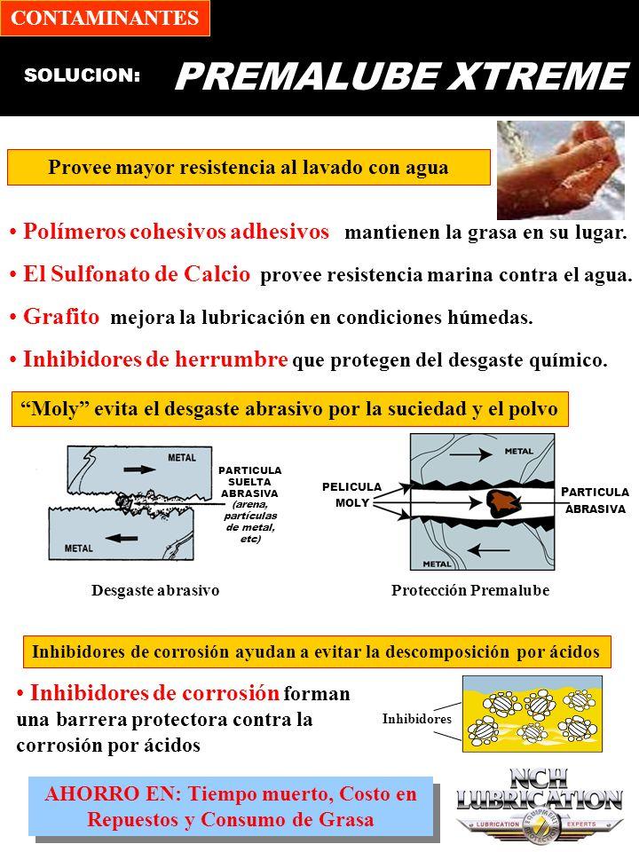 CONTAMINANTES PREMALUBE XTREME. SOLUCION: Provee mayor resistencia al lavado con agua.