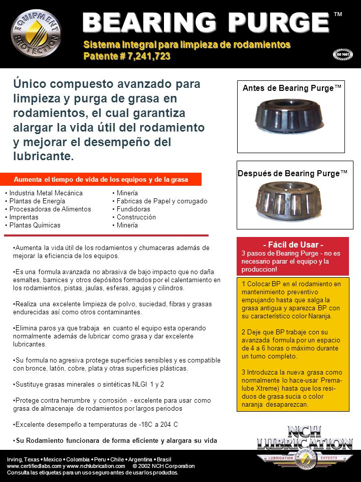 BEARING PURGE TM. Sistema Integral para limpieza de rodamientos. Patente # 7,241,723.