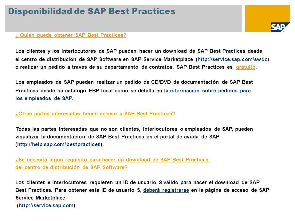 Disponibilidad de SAP Best Practices