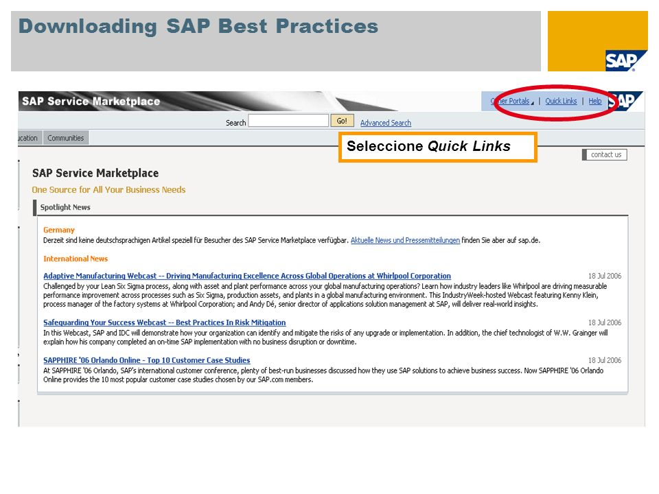 Downloading SAP Best Practices
