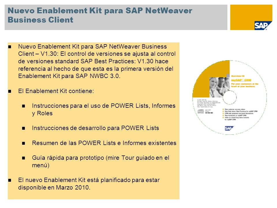 Nuevo Enablement Kit para SAP NetWeaver Business Client