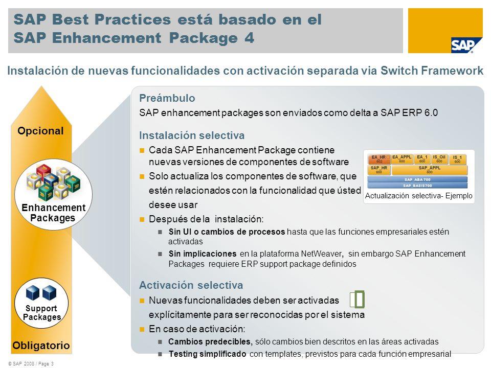 SAP Best Practices está basado en el SAP Enhancement Package 4