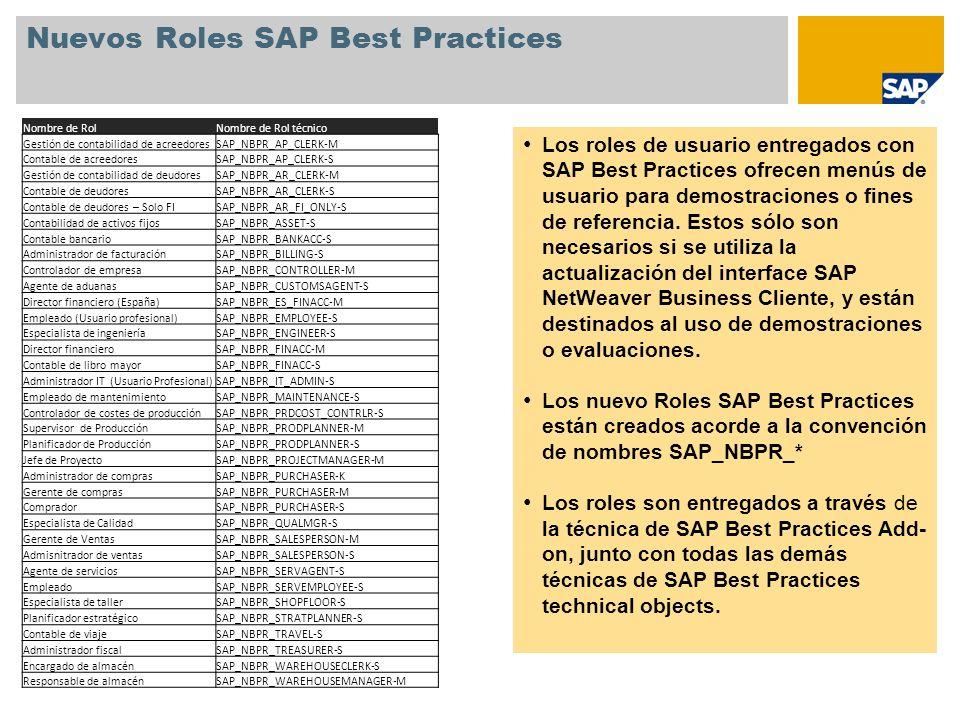 Nuevos Roles SAP Best Practices
