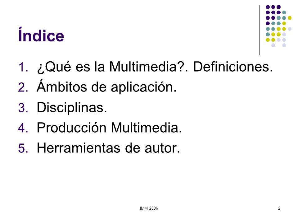 Índice ¿Qué es la Multimedia . Definiciones. Ámbitos de aplicación.