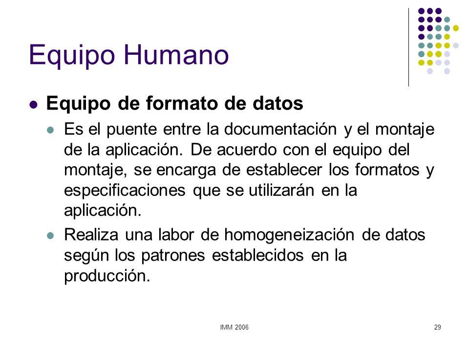 Equipo Humano Equipo de formato de datos