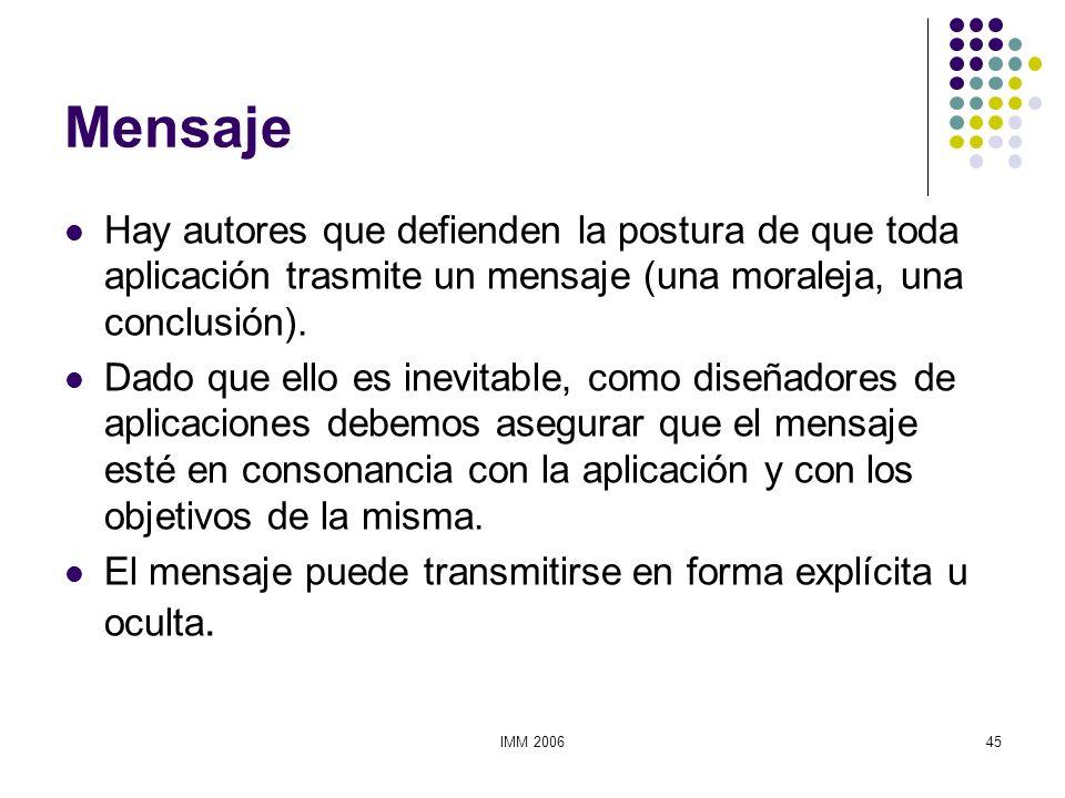 MensajeHay autores que defienden la postura de que toda aplicación trasmite un mensaje (una moraleja, una conclusión).