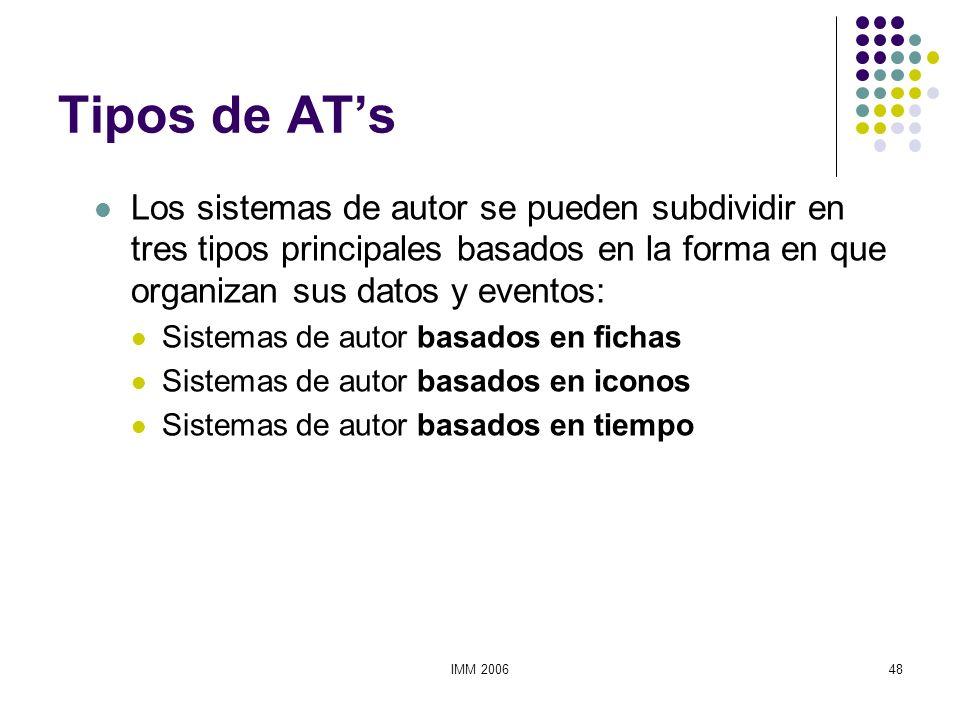 Tipos de AT'sLos sistemas de autor se pueden subdividir en tres tipos principales basados en la forma en que organizan sus datos y eventos: