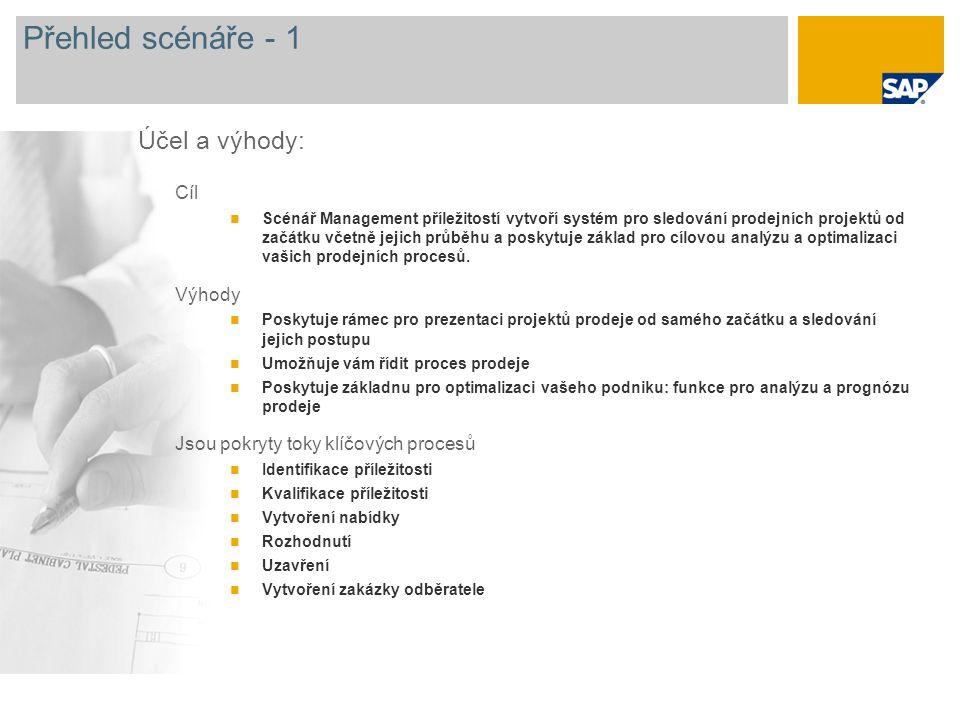 Přehled scénáře - 1 Účel a výhody: Cíl Výhody