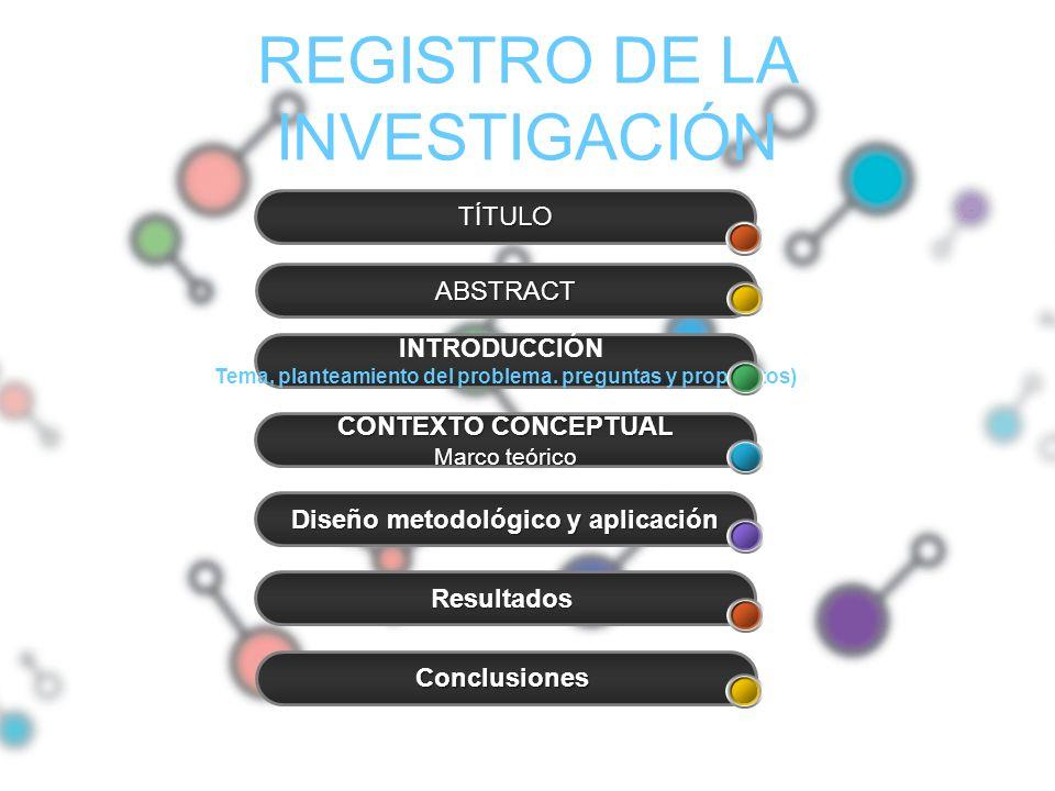 REGISTRO DE LA INVESTIGACIÓN