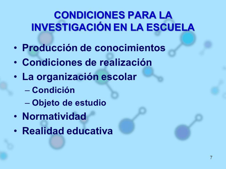 CONDICIONES PARA LA INVESTIGACIÓN EN LA ESCUELA