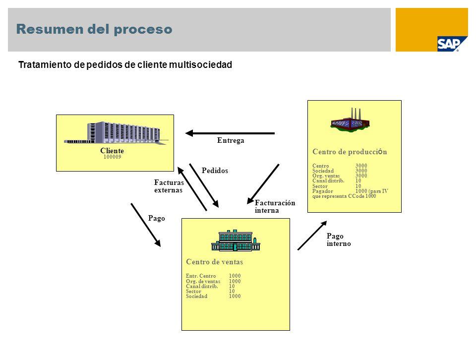 Resumen del proceso Tratamiento de pedidos de cliente multisociedad