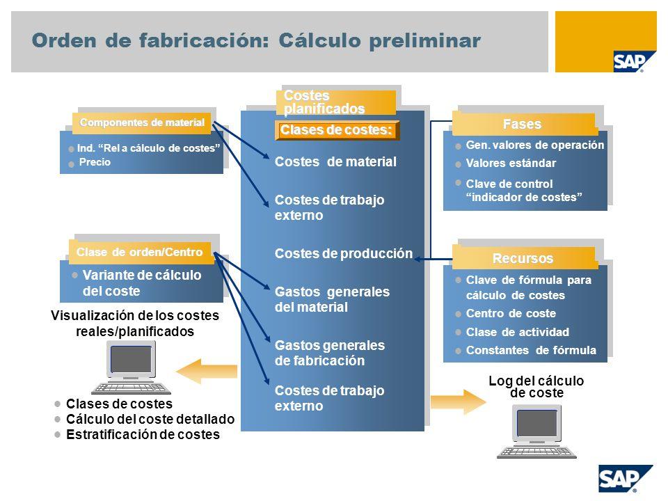 Orden de fabricación: Cálculo preliminar