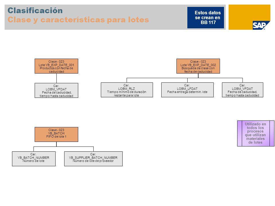 Clasificación Clase y características para lotes