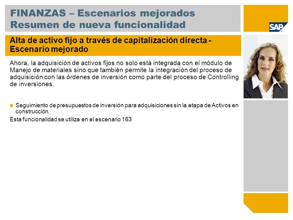 FINANZAS – Escenarios mejorados Resumen de nueva funcionalidad