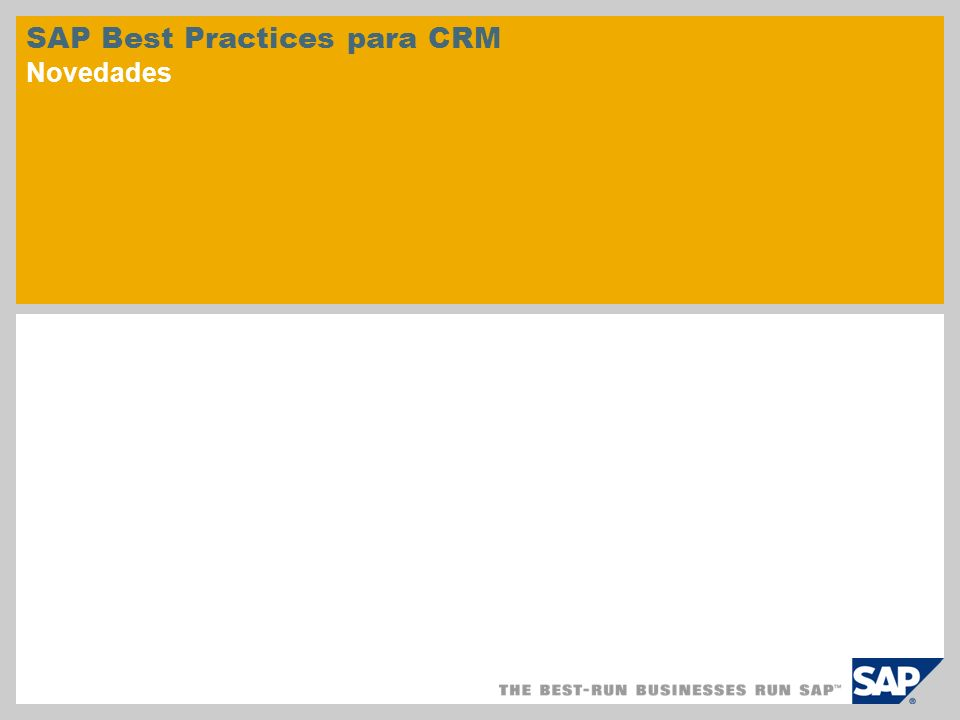 SAP Best Practices para CRM Novedades