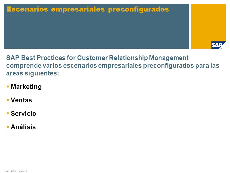 Escenarios empresariales preconfigurados