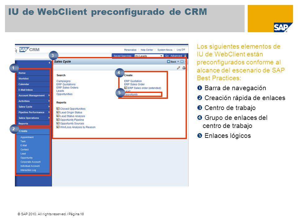 IU de WebClient preconfigurado de CRM