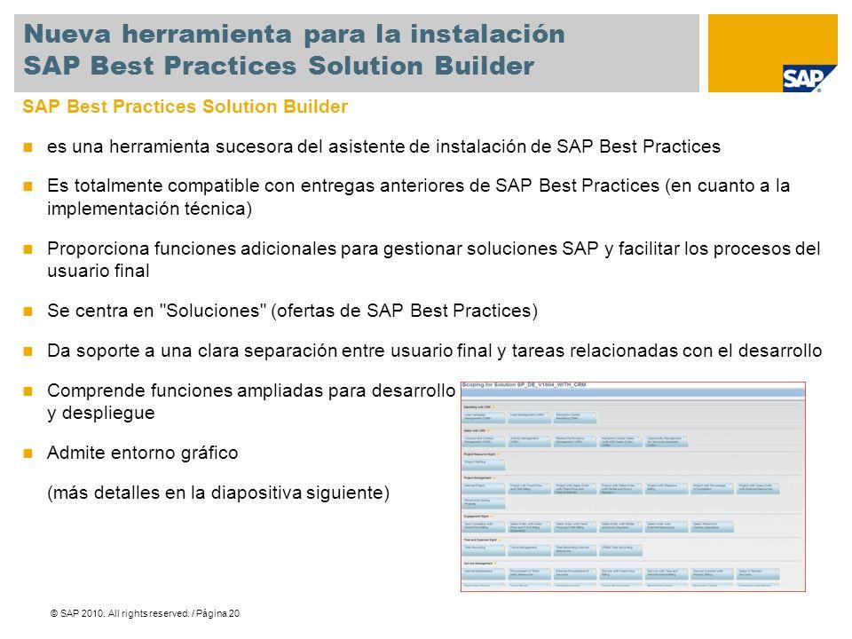 Nueva herramienta para la instalación SAP Best Practices Solution Builder