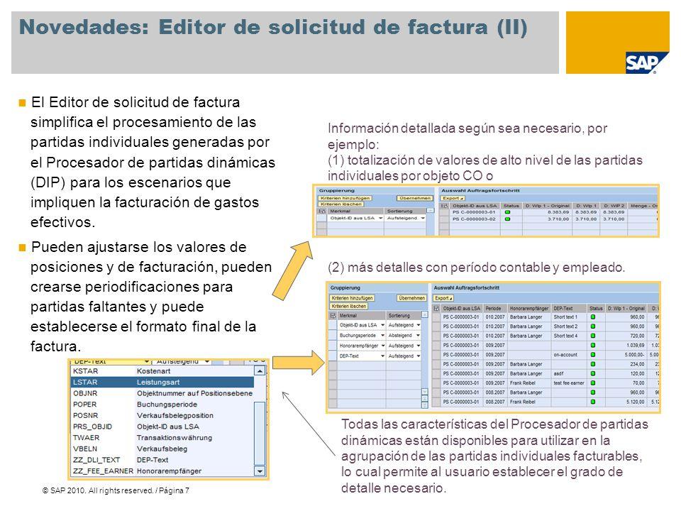 Novedades: Editor de solicitud de factura (II)