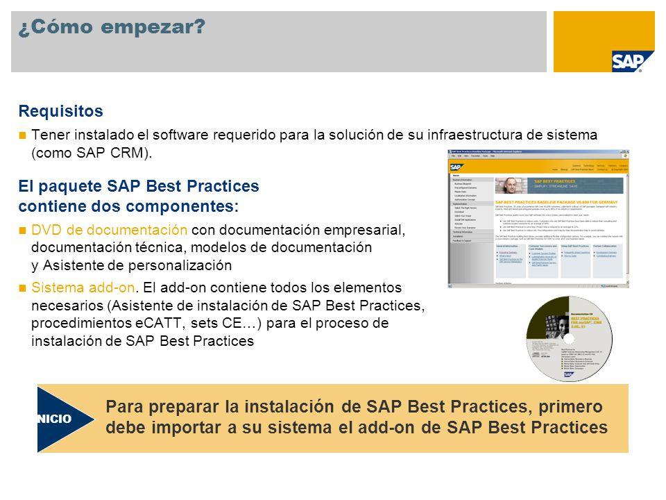 ¿Cómo empezar Requisitos. Tener instalado el software requerido para la solución de su infraestructura de sistema (como SAP CRM).