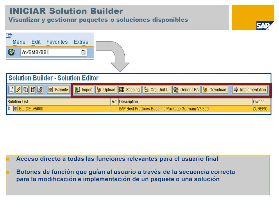 INICIAR Solution Builder Visualizar y gestionar paquetes o soluciones disponibles